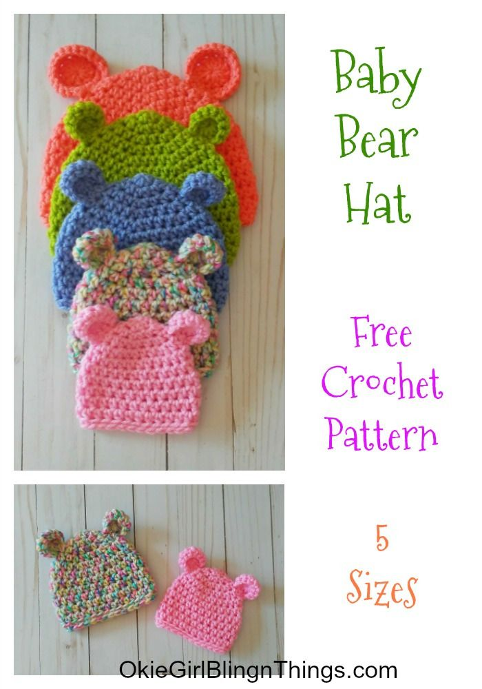 d7c5730e0 Crochet this super cute baby hat in 5 different sizes. This pattern works  up very quickly and I used I Love This Yarn from Hobby Lobby.