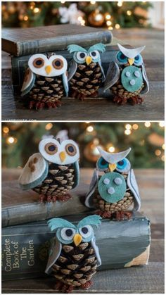 This is so cute anytime. #Pinecone #Owls - 20 Magical #DIY #Christmas #Home #Decorations You'll Want Right Now // Nicht nur für Weihnachten gut - Tannenzapfen-#Eulen: