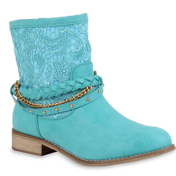 Spitze, Kette, Flechtung, Nieten - Sommer Boots für Fashionistas http://www.stiefelparadies.de/damen-stiefeletten-tuerkis-tartagal-71055-531