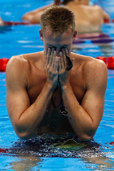 #RIO2016 Dmitriy Balandin of Kazakhstan reacts after winning the gold medal in the Men's 200m Breaststroke Final on Day 5 of the Rio 2016 Olympic Games at the...