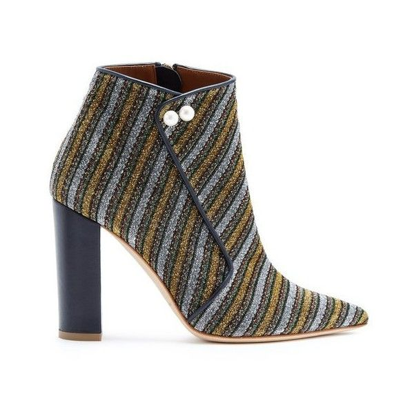 Malone Souliers X Natalia Vodianova Lada striped ankle boots ($745) ❤ liked on Polyvore featuring shoes, boots, ankle booties, gold multi, ankle bootie boots, ankle boots, pointed toe ankle boots, pointed toe booties and block heel booties