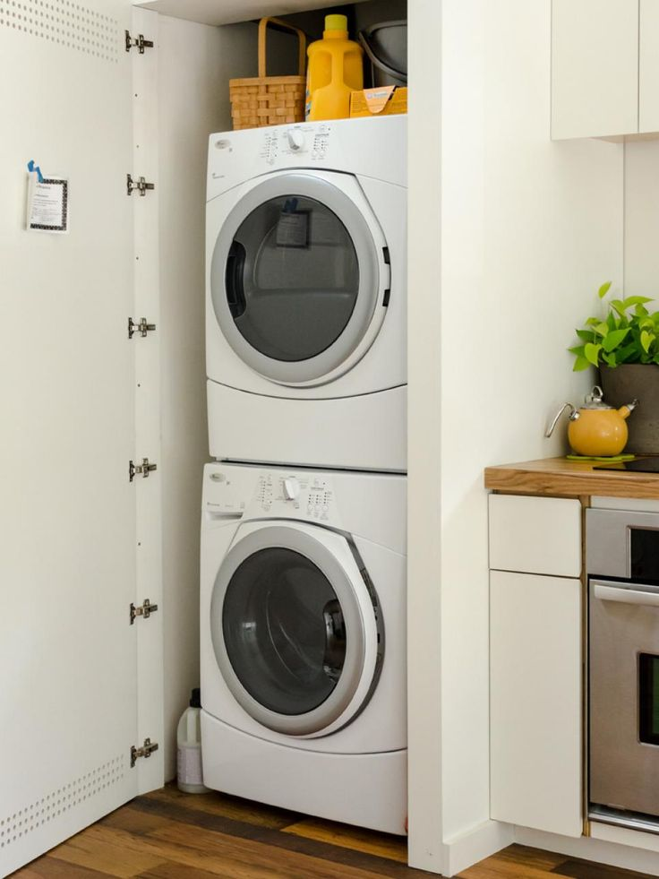 25 best ideas about washing machine hose on pinterest small laundry area clean the washing - Small space laundry set ...