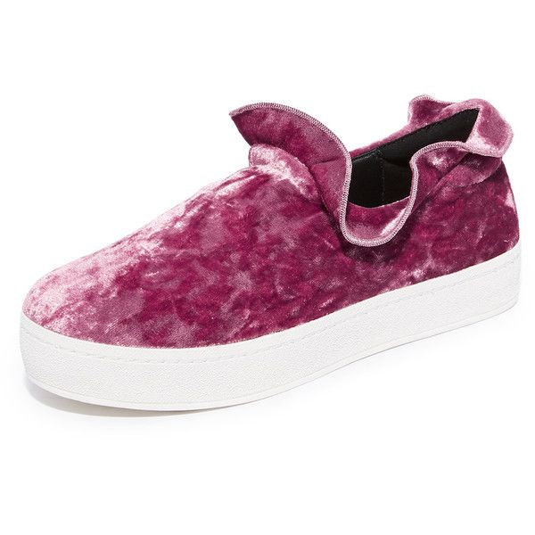 Opening Ceremony Cici Velvet Ruffle Slip On Sneakers (286 AUD) ❤ liked on Polyvore featuring shoes, sneakers, ash rose, platform shoes, slip on sneakers, platform trainers, slip-on sneakers and velvet shoes