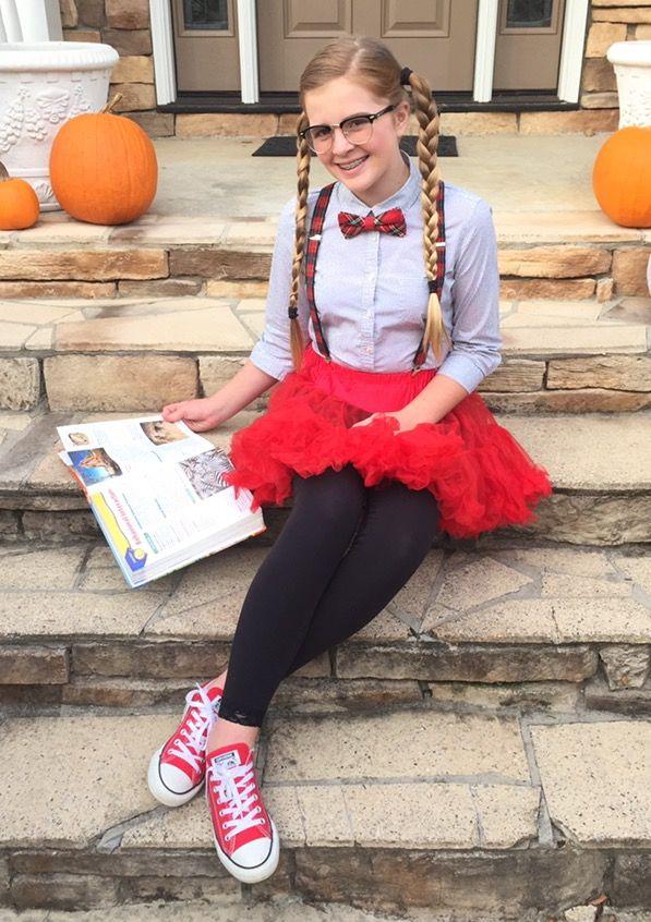 Tween nerd Halloween costume DIY- shirt leggings suspenders tutu bow tie  sc 1 st  LTT & Cute Girl Nerd Costume Ideas - LTT