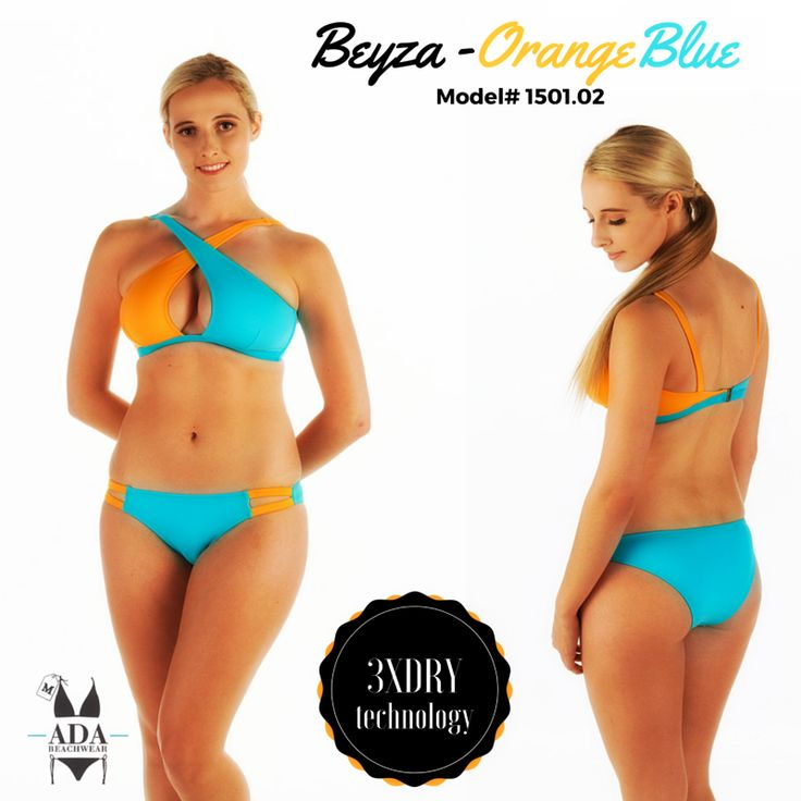 BEYZA - TWO PIECE BIKINI SWIMWEAR- ORANGE/BLUE... All our products have 3XDRY technology that provides the comfort by drying 8 times faster than regular swimwear brands.  UV filtered fabrics give extra protection to your skin.