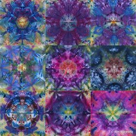 Well, here are three more yards worth altogether of the ice dyed mandalas in the smaller format (22 inches x 22 inches). I tried two diff...