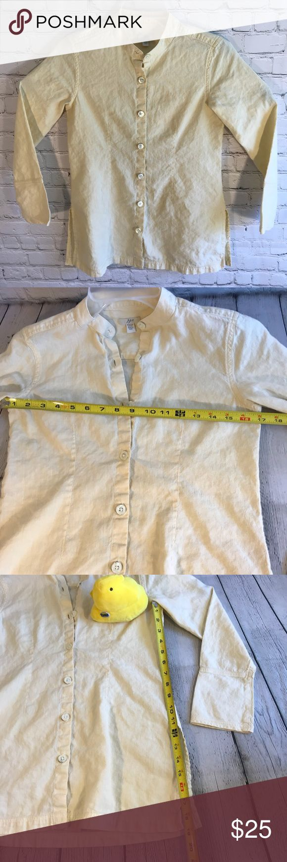 J Jill Linen Button Front Shirt Banded Collar XXSP This is a J Jill linen cotton long sleeve yellow button front banded collar shirt top size XXPS. Freshly washed. Great condition. See pics for measurements. Machine washable. J. Jill Tops Button Down Shirts