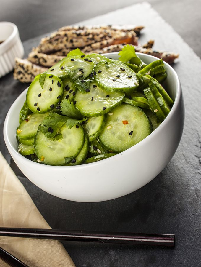 5 minutes and 50 calories - this flavorful cucumber salad is the perfect side for yuor Asian themed meals