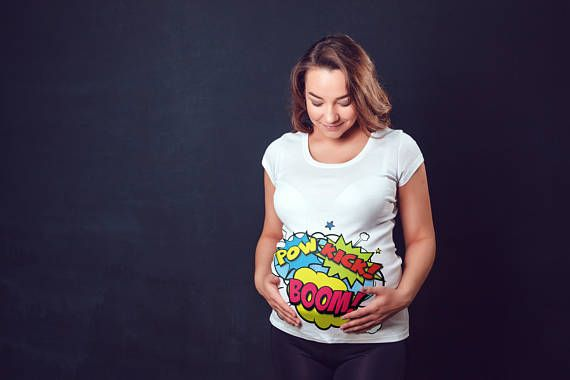 Funny Comic Baby Kicking Pregnancy Shirt - Cute Pregnancy Shirt - Comics Kicking Baby Pregnancy Surprise T Shirt - Funny Pregnancy Tshirt. For the mother-to-be, this maternity t-shirt affords the space you need to keep comfortable throughout your pregnancy. The snug fit and longer length allows you to maintain a slim appearance when compared to other shorter and bulkier maternity tees.