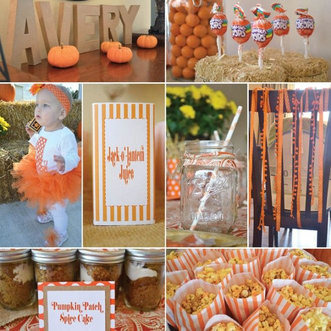 LOVE the Mason jars with straws for tea...and the letters with her name surrounded by pumpkins!