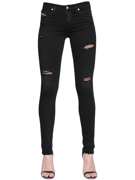 """diesel - damen - jeans - jeans aus baumwolldenim mit rissen """"skinzee"""""""