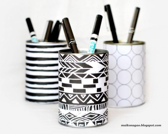 DIY Tin Can Desk Organizers & Free Printable Wrappers.