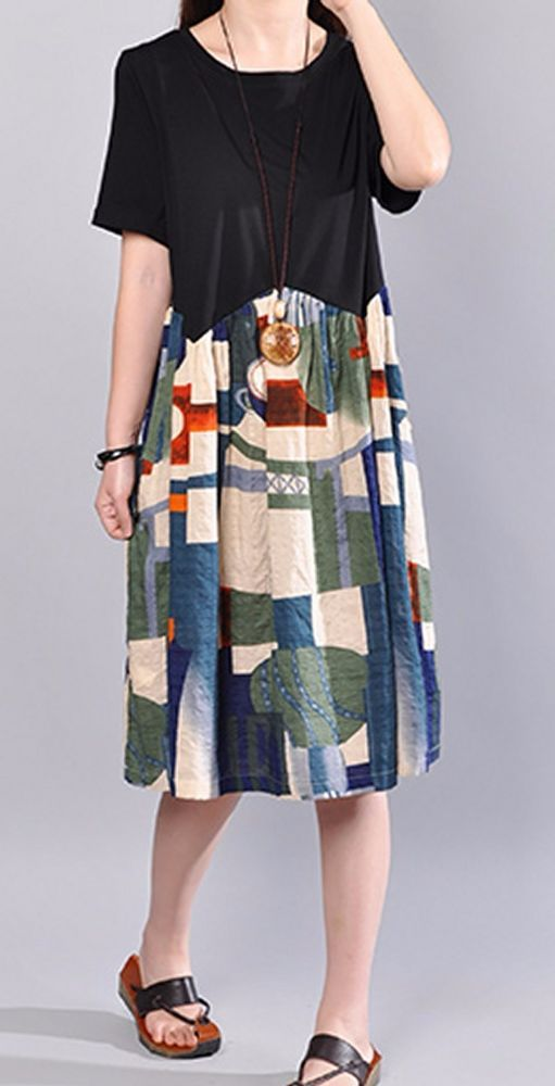 Women loose fitting over plus size color blocks dress tunic pregnant fashion #Unbranded #dress #Casual