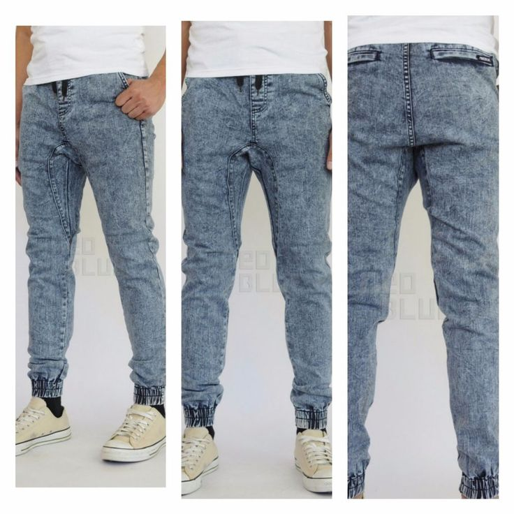 Mens made in USA jogger denim pants drawstring gorgeous joggers #Neoblue #Joggerdropcrotchjeans