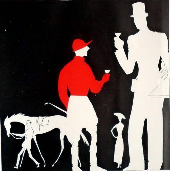 Original 1930 St Raphael Aperitif Equestrian Black Red Print