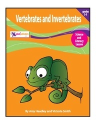 Vertebrates and Invertebrates are Science and Literacy lessons for 3rd-5th grade students.     After learning about the characteristics of vertebrates, students will answer reading comprehension questions and conduct a short research project to make and play the game Find the Fib.    After learning about the characteristics of invertebrates, students will answer reading comprehension questions and use what they've read to solve riddles about vertebrates and invertebrates.