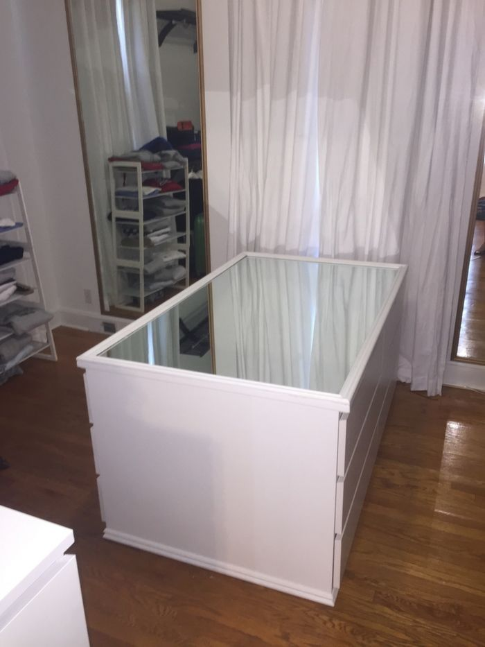 I Wanted To Hack A Large Hollywood Glam Mirrored Dresser Island So I Placed  2 Malm