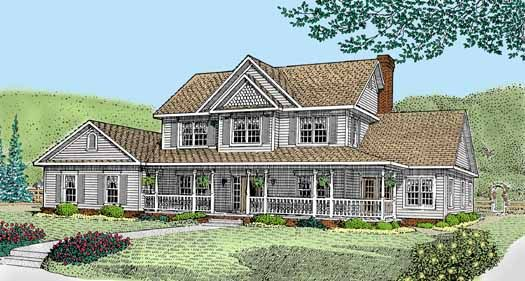 Country Style House Plans - 2750 Square Foot Home , 2 Story, 6 Bedroom and 3 Bath, 2 Garage Stalls by Monster House Plans - Plan 13-143