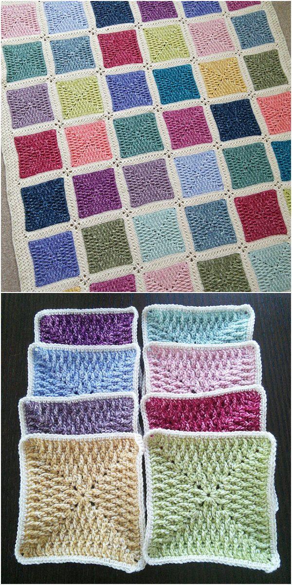 30e3913790cb Textured Ripple Granny Square Free Crochet Pattern | Punto de Cruz ...
