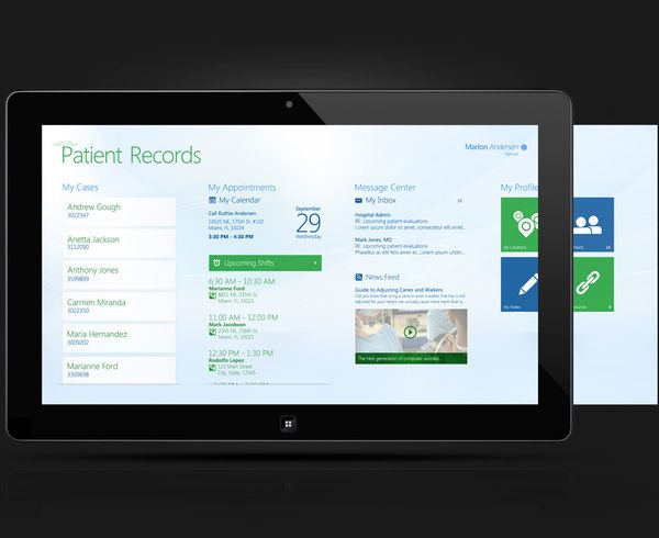 Windows 8 - Patient Records App by Natali Arocha, via Behance
