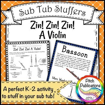 Most teachers would agree taking a sick or person day is harder than actually being at work.  Writing sub plans and preparing sub tubs and sub binders are so hard, especially in music and other specials!This is a great print and go plan for K-2. Students will read a book about an orchestra that grows from a solo to a nanet.  #elmused #pitchpublications #musicsubtub