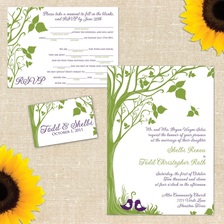 Bella Wedding Invitation Suite with Mad Lib Response Card. $35.00, via Etsy.    Purple and green AND Mad Libs. Yes.