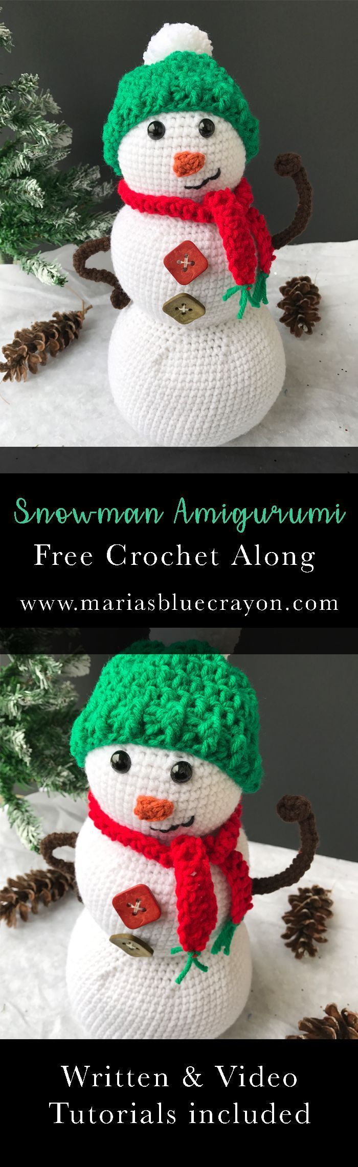 Snowman Amigurumi | Free Crochet Pattern | Free Crochet Along with Written and Video Tutorial | Crochet Christmas Home Decor | Holiday & Winter Decor | DIY