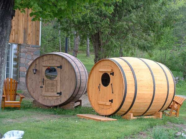 Sauna or Spare Bedroom???? Your choice!!~~This option would make a great spare bedroom for a tiny house or a small office. Also the barrel sauna can be easily transported by trailer and some are even offered as mobile saunas for rent.