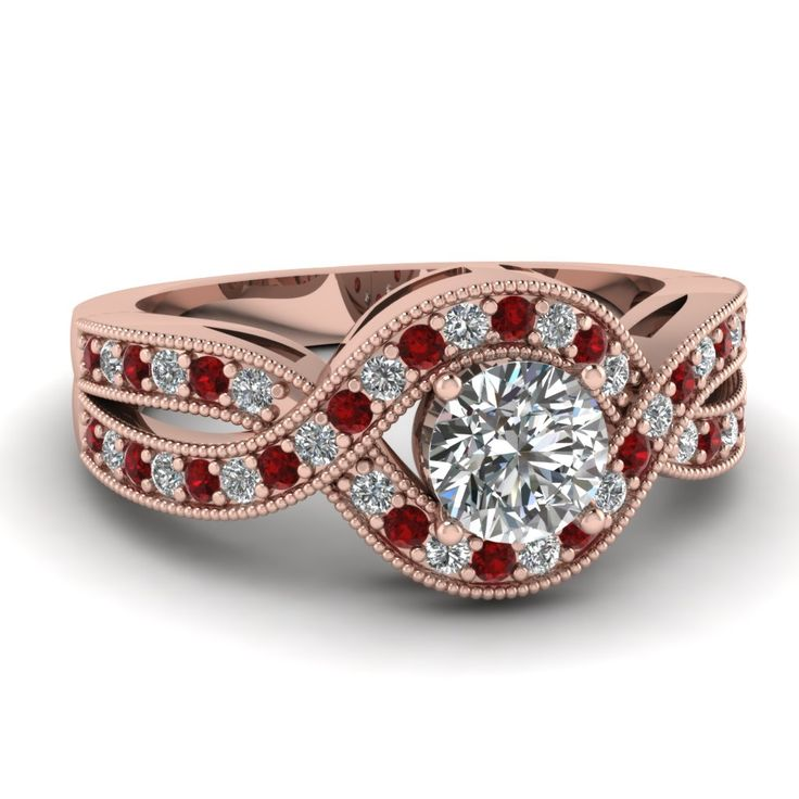 http://rubies.work/0628-multi-gemstone-ring/ Round Cut diamond Split Shank Engagement Ring with Red Ruby in 14K Rose Gold