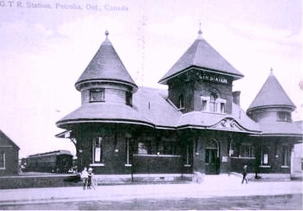 PETROLIA, Ontario - Grand Trunk RR station pc - Churcher