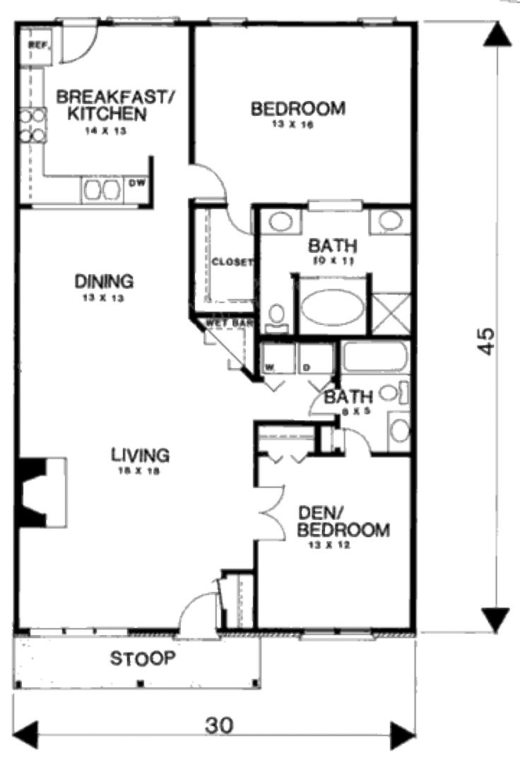 Farmhouse style house plan 3 beds 2 baths 1350 sq ft for 3 bedroom country floor plan