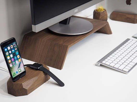 Walnut Monitor Stand  iMac Wood Stand  Computer Wood Stand