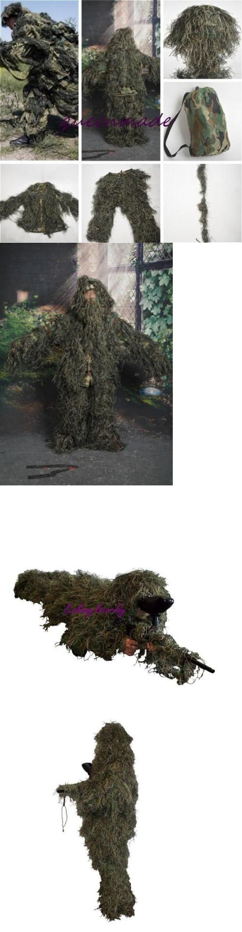 Ghillie Suits 177870: Woodland Forest Sniper Ghillie Suit 3D Camouflage Camo Jungle Hunting Train Q BUY IT NOW ONLY: $35.24
