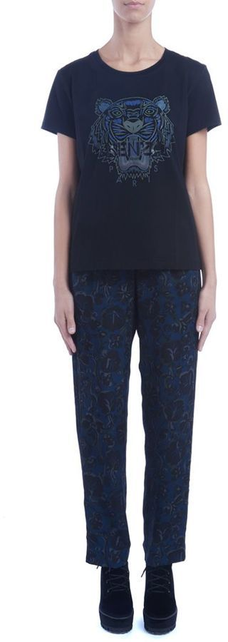 Kenzo Blue Trousers With Floral Print
