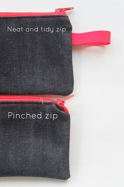 zipper tips: Sewing Delicious, Sewing Technique, Simple Zip, Pouch Tutorials, Sewing Zippers, Tips, Zippers Pouch, Zip Pouch, Sewing Bags