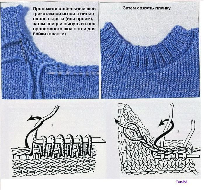 Knitting And Picking Up Stitches : method for neater neck lines when picking up stitches?????????? ??????, ?????...