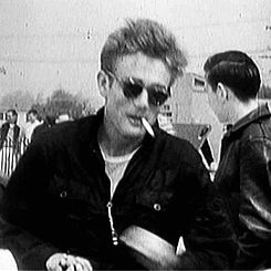 """jamesdeaner: """"  Candid footage of James Dean at a race in Santa Barbara, 1955. """""""