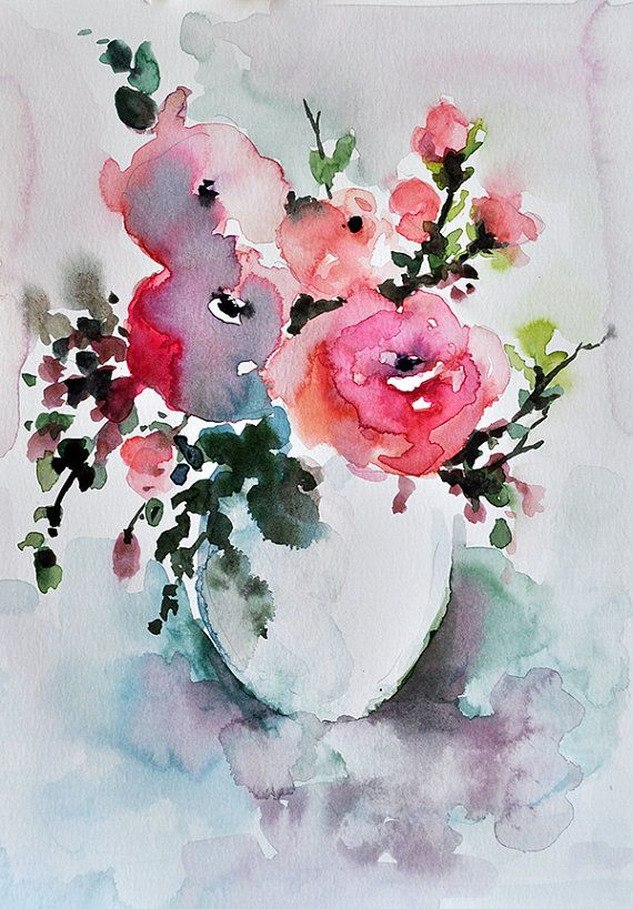 ORIGINAL Watercolor Flower Painting, Pink Roses in a Vase, Floral Art 8x12 Inch