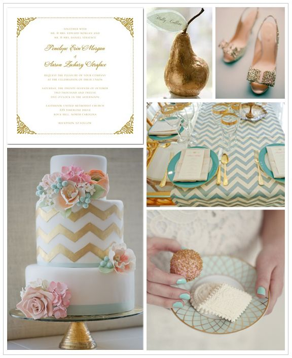 Modern Gold Wedding Inspiration Board By  Wedding Invitations, Style, Planning and Inspiration: Colors Combos, Mint Gold, Inspiration Boards, Mint Cakes, Wedding Cakes, Colors Schemes, Chevron Wedding, Gold Wedding, Chevron Cakes
