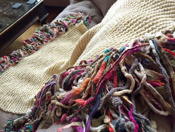 Chunky Knit Blanket Chunky Blanket Chunky Throw with #multicolor #fringeblanket handmade by CricketsHome
