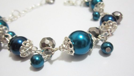 Teal and Navy Blue Pearl Bracelet Blue Bridesmaid by SLDesignsHBJ