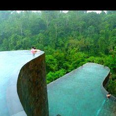 Hanging infinity pools in the Ubud Hanging Gardens, Bali.