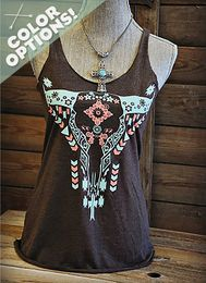 Cow Skull Racerback Tank with Turquoise and Coral Print