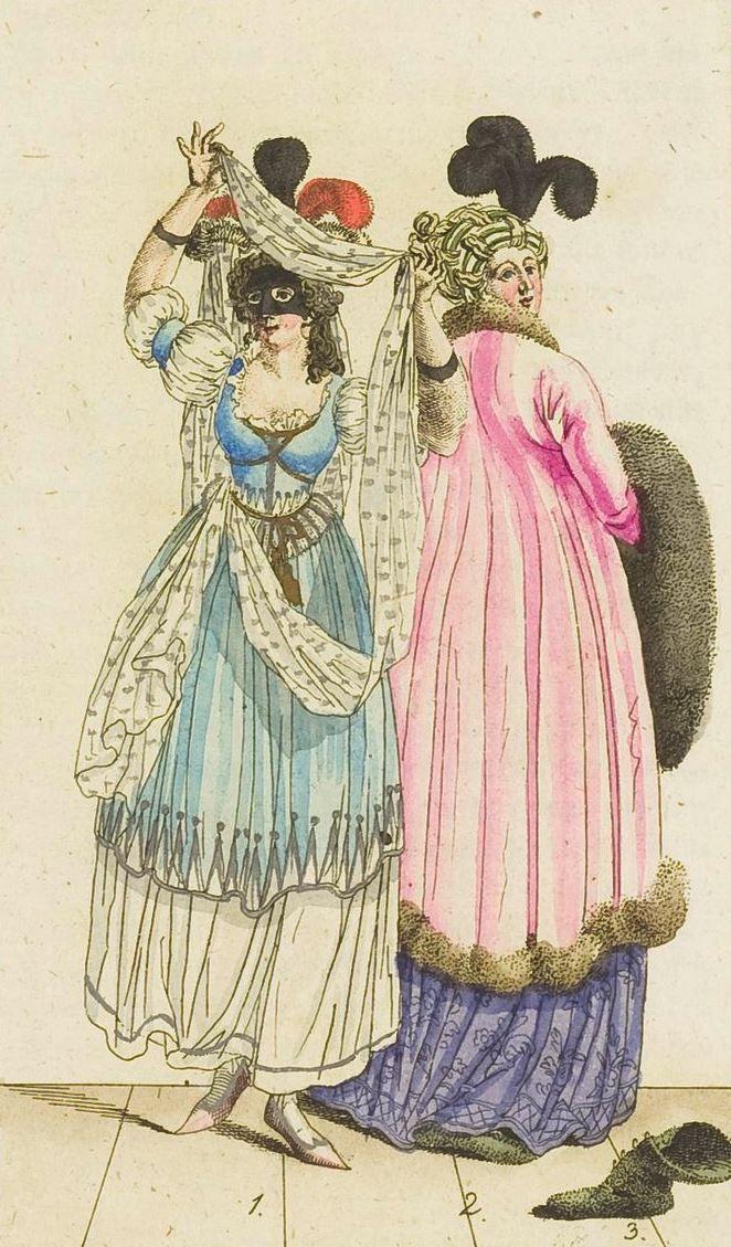 Fashion print (in colour) from 'Journal Fur Fabrik Manufaktur, Handlung und mode', 1799. ModeMuseum Provincie Antwerpen, Public Domain