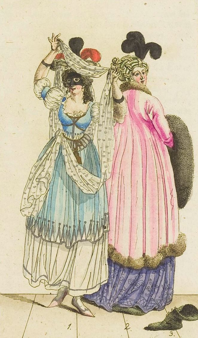 Fashion print (in colour) from 'Journal Fur Fabrik Manufaktur, Handlung und mode', 1799. ModeMuseum Provincie Antwerpen, Public Domain