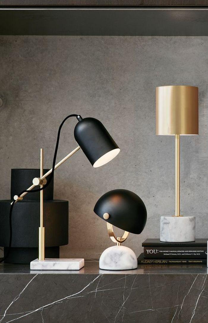 lampe de bureau articulée en fer noir, lampe de bureau design classique en noir et marbre blanc