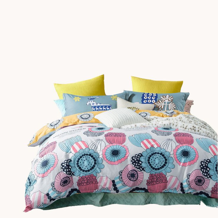 100% cotton bed linens,colorful flowers bedding set queen twin size,yellow bed sheet soft duvet cover pillowcase kids bedding