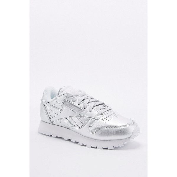 Reebok Classic Silver Trainers (£60) ❤ liked on Polyvore featuring shoes, sneakers, silver, cushioned shoes, sports shoes, reebok shoes, reebok and sport sneakers