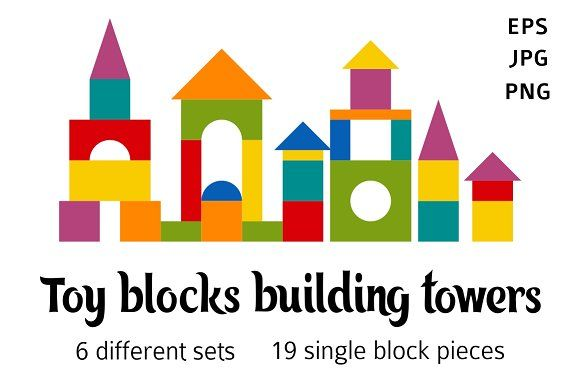 Toy blocks flat building towers by primula on @creativemarket