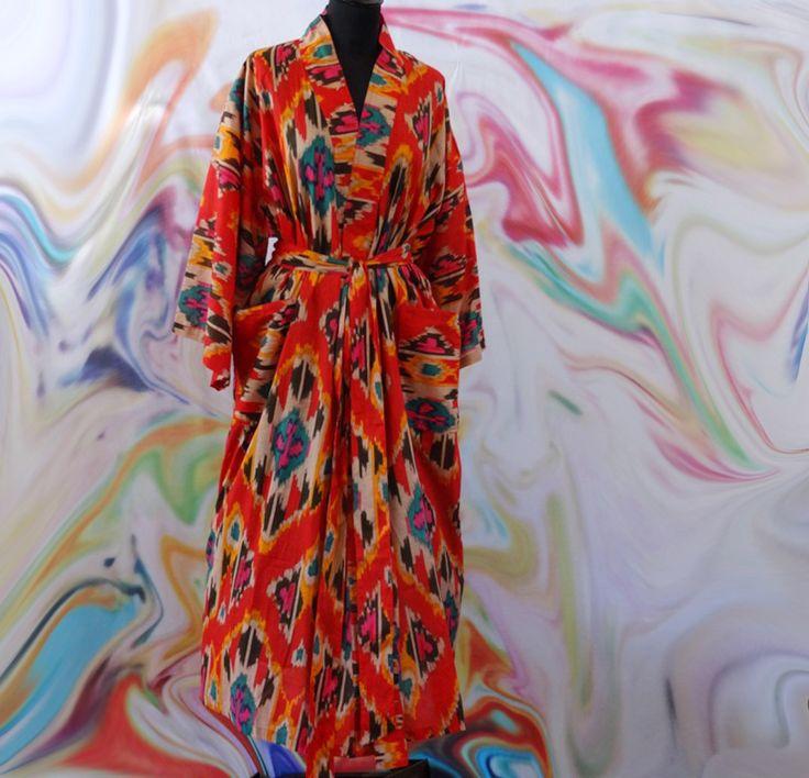 Veste d'intérieur peignoir homme ou femme rouge et orange en coton imprimé Ikat : Autres mode par akkacreation